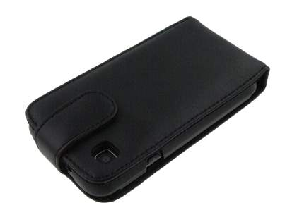Samsung I9000 Galaxy S Genuine Leather Flip Case - Black