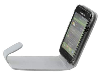 Samsung I9000 Galaxy S Genuine Leather Flip Case - White