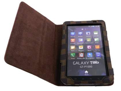 Designer Synthetic Leather Flip Case with Stand for Samsung Galaxy Tab P1000 - Brown