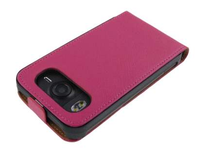 HTC Desire HD Slim Synthetic Leather Flip Case - Hot Pink
