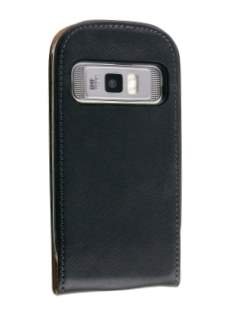 Synthetic Leather Flip Case for Nokia C7 - Classic Black Leather Flip Case