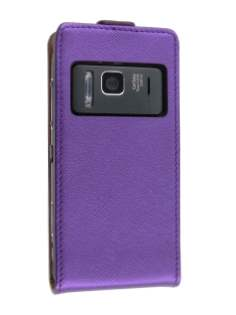 Synthetic Leather Flip Case for Nokia N8 - Purple Leather Flip Case
