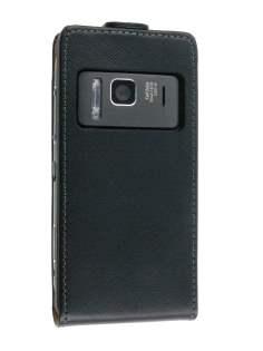 Synthetic Leather Flip Case for Nokia N8 - Black Leather Flip Case