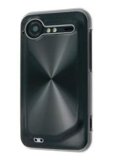 HTC Incredible S Grain Plated Aluminium Case - Clear/Black