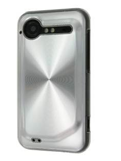 HTC Incredible S Grain Plated Aluminium Case - Clear/Silver