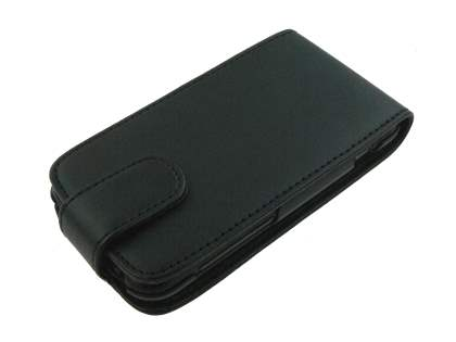 HTC Incredible S Synthetic Leather Flip Case - Black