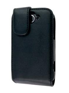 Synthetic Leather Flip Case for HTC Wildfire G8 - Black Leather Flip Case