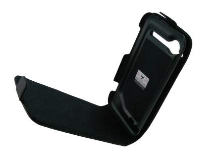 HTC Incredible S Genuine Leather Flip Case - Classic Black