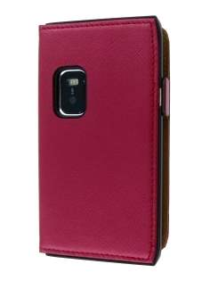 Book-Style Slim Synthetic Leather Flip Case for Nokia E7 - Red Leather Flip Case