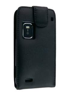 Genuine Leather Flip Case for Nokia E7 - Classic Black Leather Flip Case