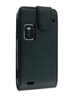 Synthetic Leather Flip Case for Nokia E7 - Black Leather Flip Case