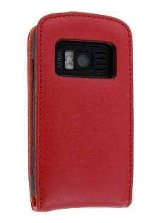 Genuine Leather Flip Case for Nokia C6-01 - Red Leather Flip Case