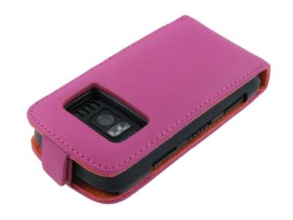 Nokia C6-01 Genuine Leather Flip Case - Pink