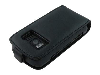 Genuine Leather Flip Case for Nokia C6-01 - Black
