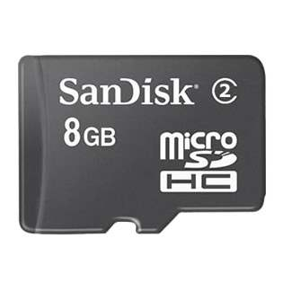 8GB SanDisk MicroSDHC Memory Card with Adapter