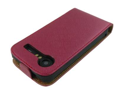 HTC Incredible S Slim Synthetic Leather Flip Case - Red