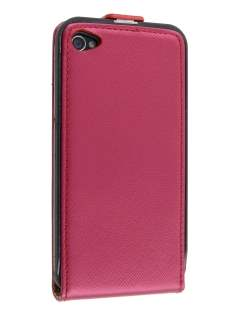 iPhone 4/4S Slim Synthetic Leather Flip Case - Red