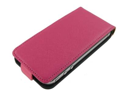 iPhone 4/4S Slim Synthetic Leather Flip Case - Pink