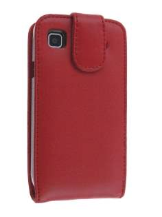 Genuine Leather Flip Case for Samsung I9000 Galaxy S - Red Leather Flip Case