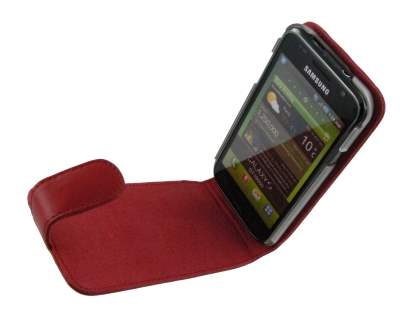 Genuine Leather Flip Case for Samsung I9000 Galaxy S - Red