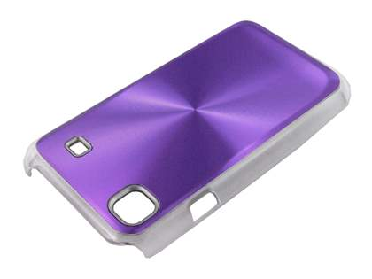 Samsung I9000 Galaxy S Grain Plated Aluminium Hard Case - Purple/Clear