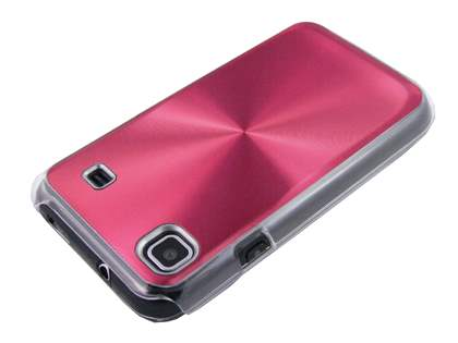 Grain Plated Aluminium Hard Case for Samsung I9000 Galaxy S - Red/Clear
