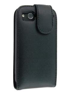 Genuine Leather Flip Case for HTC Desire S - Black