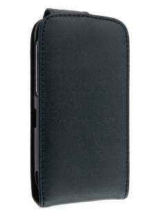HTC Desire S Genuine Leather Flip Case - Black