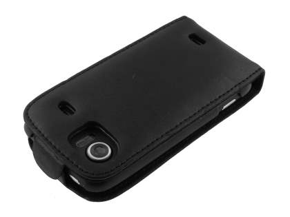 HTC 7 Mozart Genuine Leather Flip Case - Black