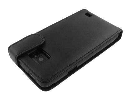 Genuine Leather Flip Case for Samsung I9100 Galaxy S2 - Black