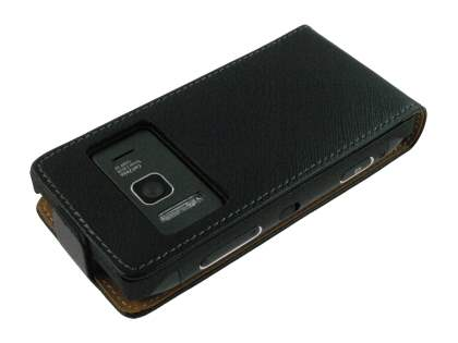 Synthetic Leather Flip Case for Nokia N8 - Black