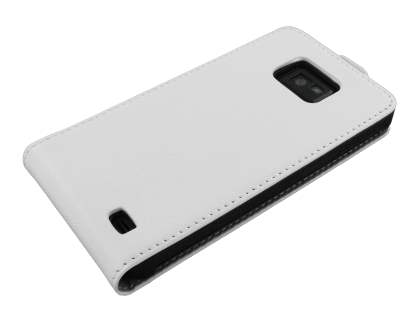 Samsung I9100 Galaxy S2 Slim Synthetic Leather Flip Case - White