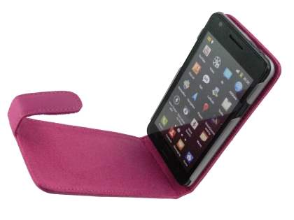Genuine Leather Flip Case for Samsung I9100 Galaxy S2 - Pink