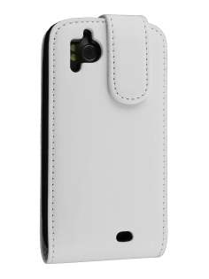 Synthetic Leather Flip Case for HTC Sensation - White Leather Flip Case