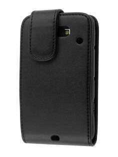 HTC ChaCha Synthetic Leather Flip Case - Black Leather Flip Case