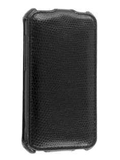 HTC Incredible S Slim Synthetic Leather Flip Case - Classic Black