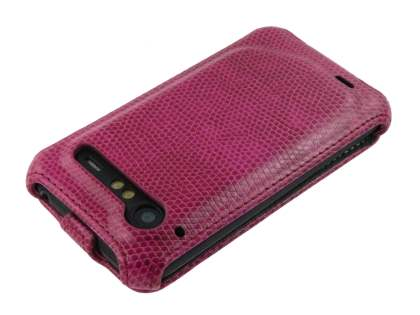 HTC Incredible S Slim Synthetic Leather Flip Case - Hot Pink