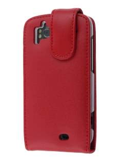 Genuine Leather Flip Case for HTC Sensation - Red Leather Flip Case