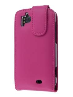 Genuine Leather Flip Case for HTC Sensation - Pink Leather Flip Case