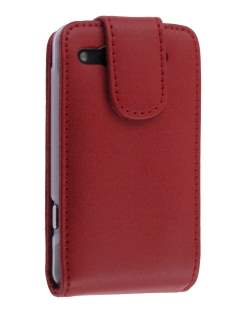 Genuine Leather Flip Case for HTC Salsa - Red Leather Flip Case