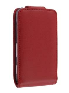 Genuine Leather Flip Case for HTC Salsa - Red