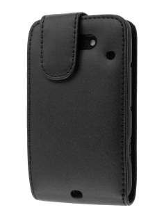 HTC ChaCha Genuine Leather Flip Case - Black Leather Flip Case