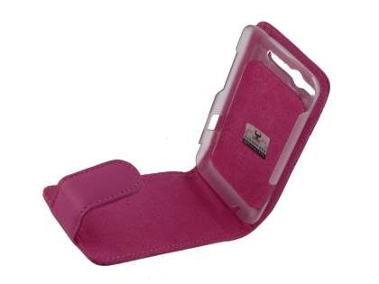 HTC Salsa Genuine Leather Flip Case - Pink