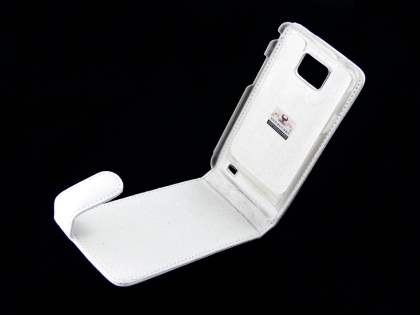 Genuine Leather Flip Case for Samsung I9100 Galaxy S2 - White