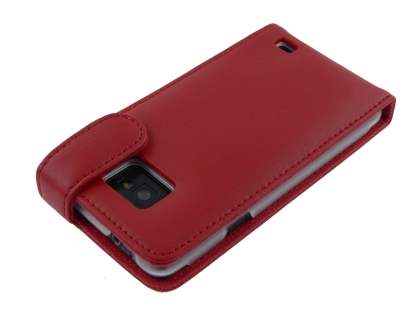 Genuine Leather Flip Case for Samsung I9100 Galaxy S2 - Red