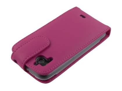 Genuine Leather Flip Case for HTC Sensation - Pink