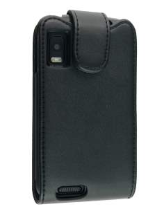 Synthetic Leather Flip Case for Motorola ATRIX 4G MB860 - Black Leather Flip Case