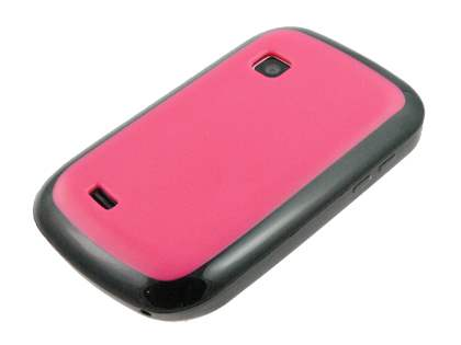Dual-Design Case for Samsung Galaxy Fit S5670 - Black/Hot Pink