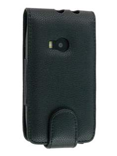Synthetic Leather Flip Case for Nokia X7 - Black Leather Flip Case