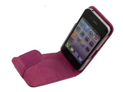 iPhone 4/4S Genuine Leather Flip Case - Pink